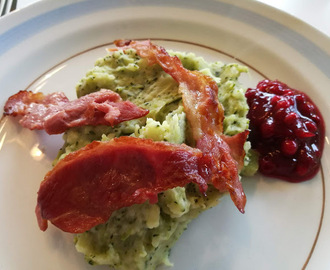BROCCOLI- OG POTETMOS MED BACON