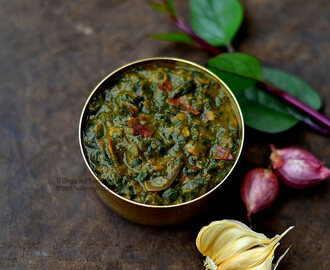 Pasalakeerai Kadayal | Mashed Red Vine Spinach with Dal | Keerai Masiyal