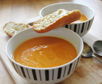 Winter Vegetable Soup with Cheese & Rosemary Toasts