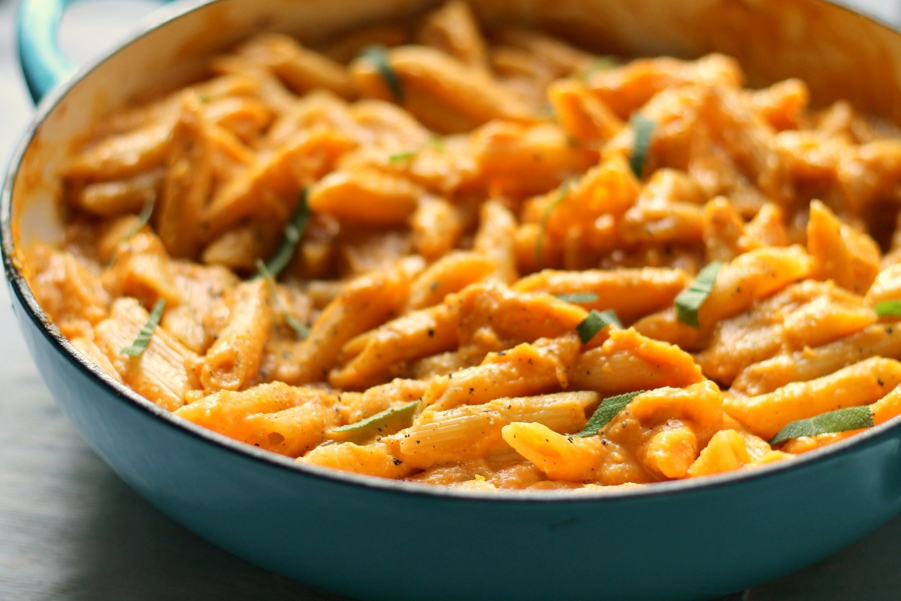 Vegan creamy pasta with butternut and truffle oil