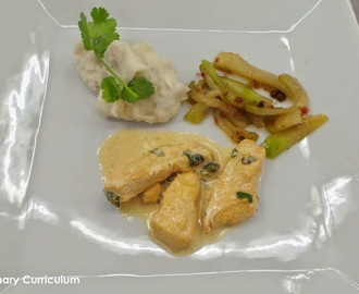 Poulet mariné au citron vert, purée de taro et chayotte poêlée au miel et baies roses (Chicken marinated in lime, taro puree and chayote fried with honey and pink peppercorns)