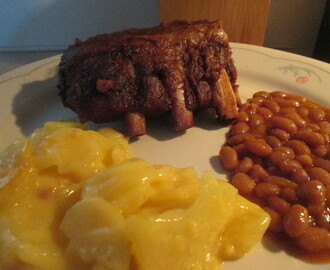 Crock Pot Pork Back Ribs w/ Potato Casserole and Vegetarian Baked Beans