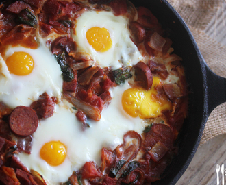 Saucy Bacon & Chorizo Baked Eggs
