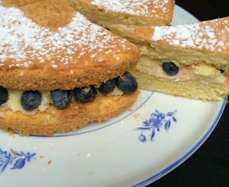Valentine sandwich cake with lemon cream and blueberries
