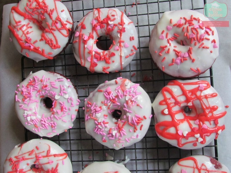 Valentine's Day Treats: Baked Red Velvet Donuts with Cream Cheese Glaze