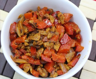 Soya chunks capsicum masala recipe – stir fried soya chunks masala