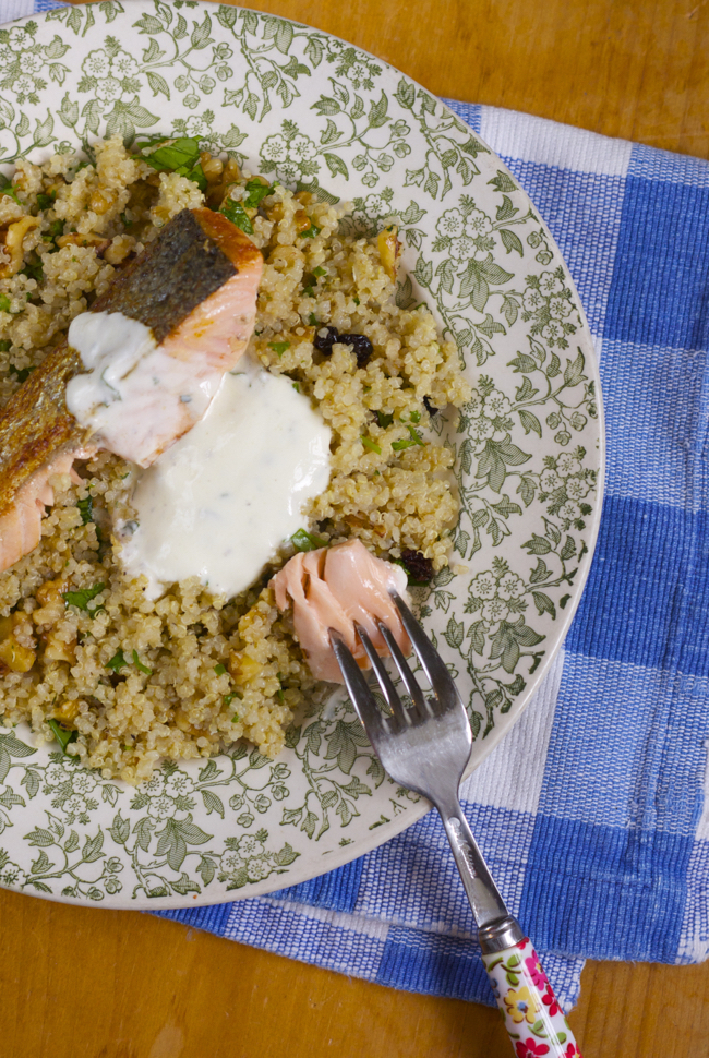 Recipe: Salmon with quinoa and walnut salad