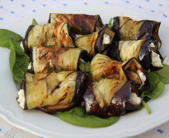 Griddled aubergine with feta, chilli and mint