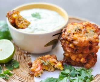 Jalapeno Corn Fritters + Avocado Cream