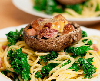 Recipe: Smoked cheese spread fig & bacon stuffed mushrooms