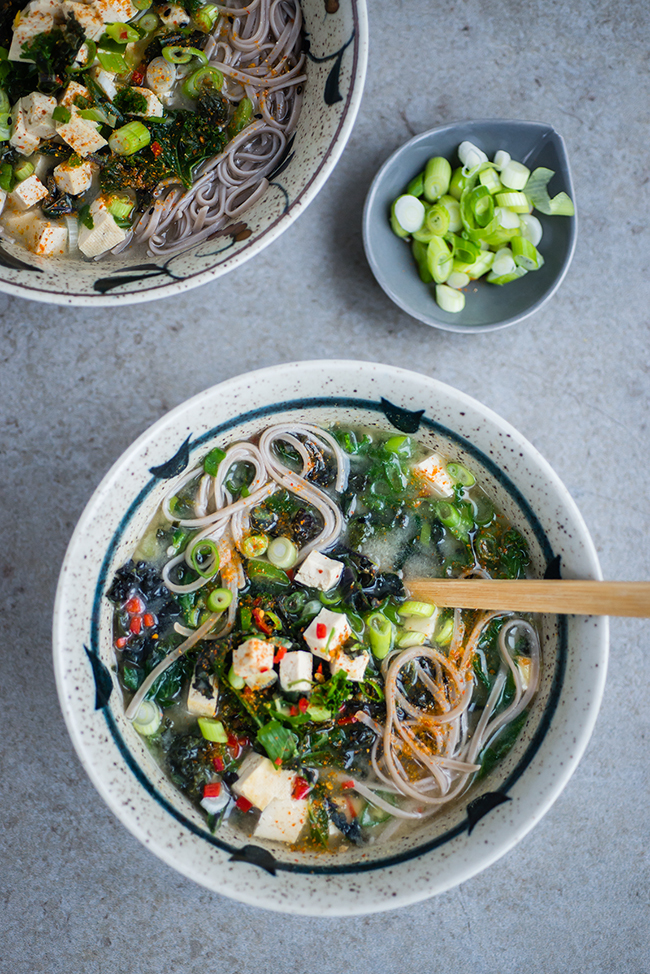 Japanese Miso, Kale and Tofu Soup and In the Mood for Healthy Food Book Giveaway
