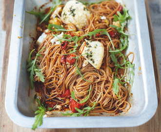 Jamie Oliver's Spelt Spaghetti, Vine Tomatoes & Baked Ricotta Recipe + Review + Giveaway!