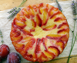 vanilla and lavender plum upside down cake