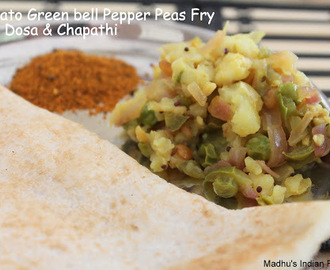 Potato Bell Pepper Green Peas Fry for Dosa/Chapathi