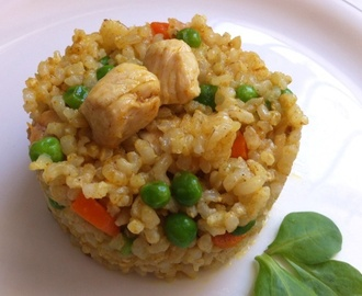 Arroz integral con pollo al curry