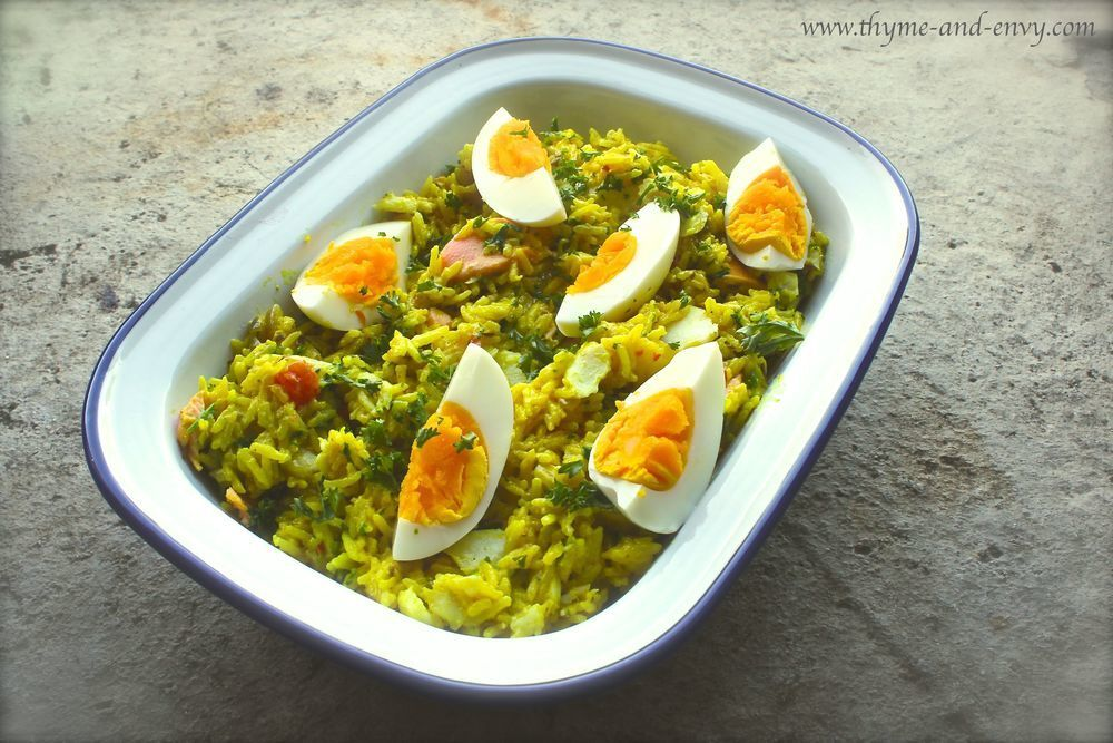 Smoked haddock & salmon kedgeree