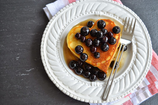 Heart-Shaped Pancakes with Blueberry Syrup