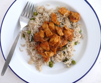 Sticky, Spicy Chicken with Pea + Cinnamon Rice.
