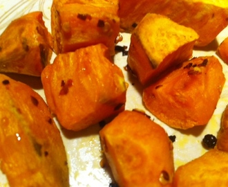Chilli and black pepper roasted sweet potato