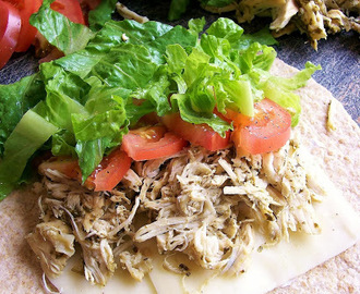 Slow Cooker Basil Pesto Chicken Wraps