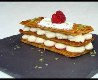 Millefeuille framboise - crème diplomate Verveine