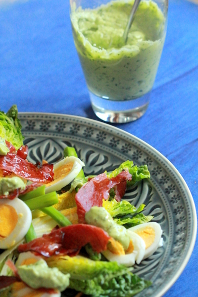 Salad with Avocado Green Goddess Dressing