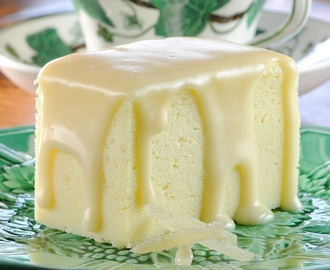 Japanese Cheesecake with Ginger White Chocolate Ganache