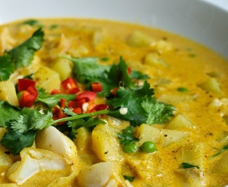 Curried haddock chowder with peas