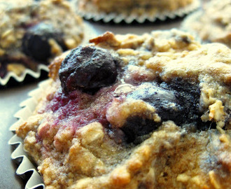 low fat blueberry oatmeal almond muffins