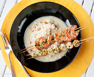 Grillatut tiikeriravut ja kampasimpukat kantarellirisotolla / Grilled Tiger Prawns and Scallops with Chanterelle Risotto