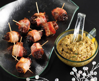Festive stuffed dates served with green olives salsa - Great party food!