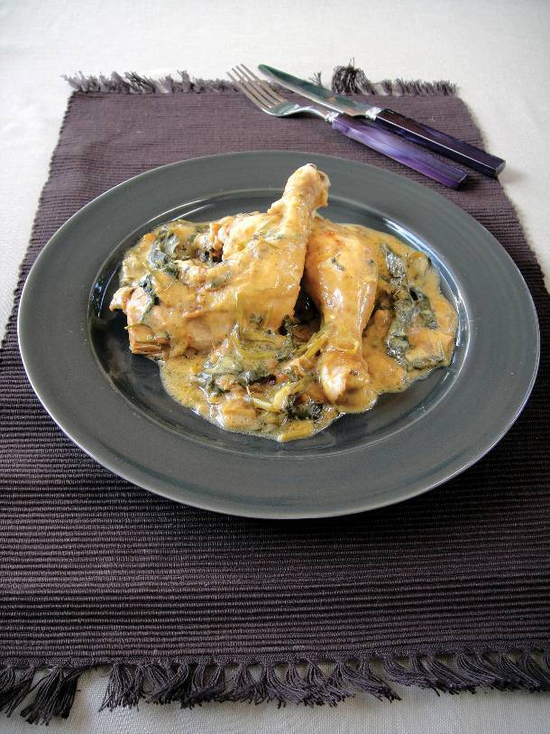 Chicken legs fricassée with Swiss chard and herbs in avgolemono sauce