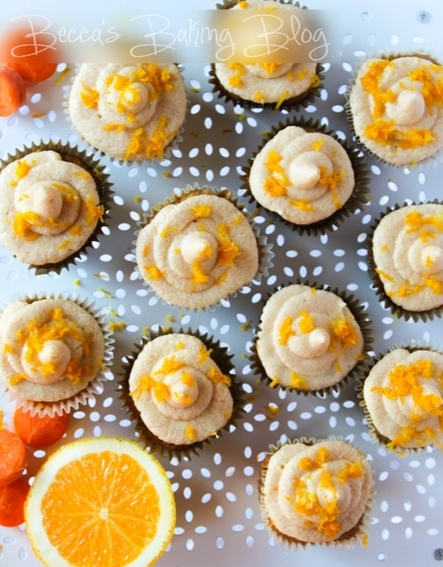 Carrot and Orange Cupcakes with Orange Brown Sugar Buttercream