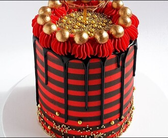 Gold, Black and Red Striped Cake Tutorial- Rosie's Dessert Spot