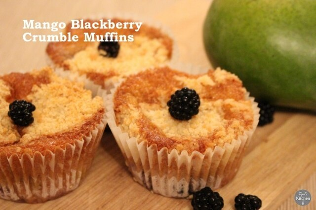 Mango Blackberry Crumble Muffins