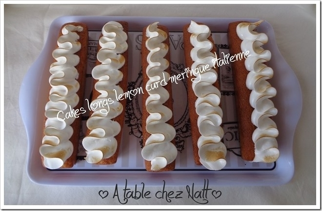 Cakes longs lemon curd meringue italienne