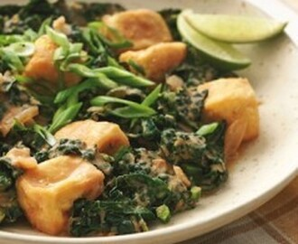 Spicy Thai Braised Kale and Tofu