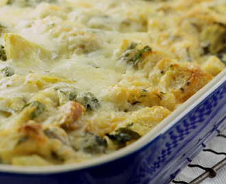 Cheesy Sausage Artichoke Bread Pudding . . .oh good Heavens it's good