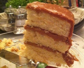 Cream Fluff Cake with Caramel Icing