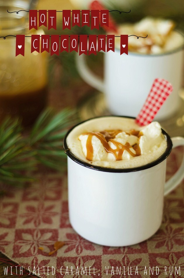 Hot White Chocolate with Salted Caramel, Vanilla and Dark Rum (Varm Vit Choklad med Vanilj, Karamellsås och Rom)