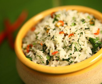 Coriander Rice  Source:- https://indiafoodnetwork.in/recipes/pongal-special-how-to-cook-coriander-rice-by-preetha/