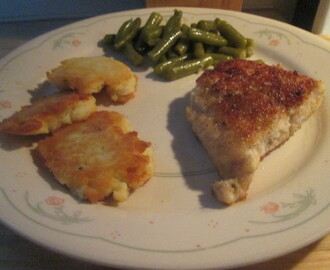 Fried Walleye Fillet w/ Potato Pancakes and Green Beans