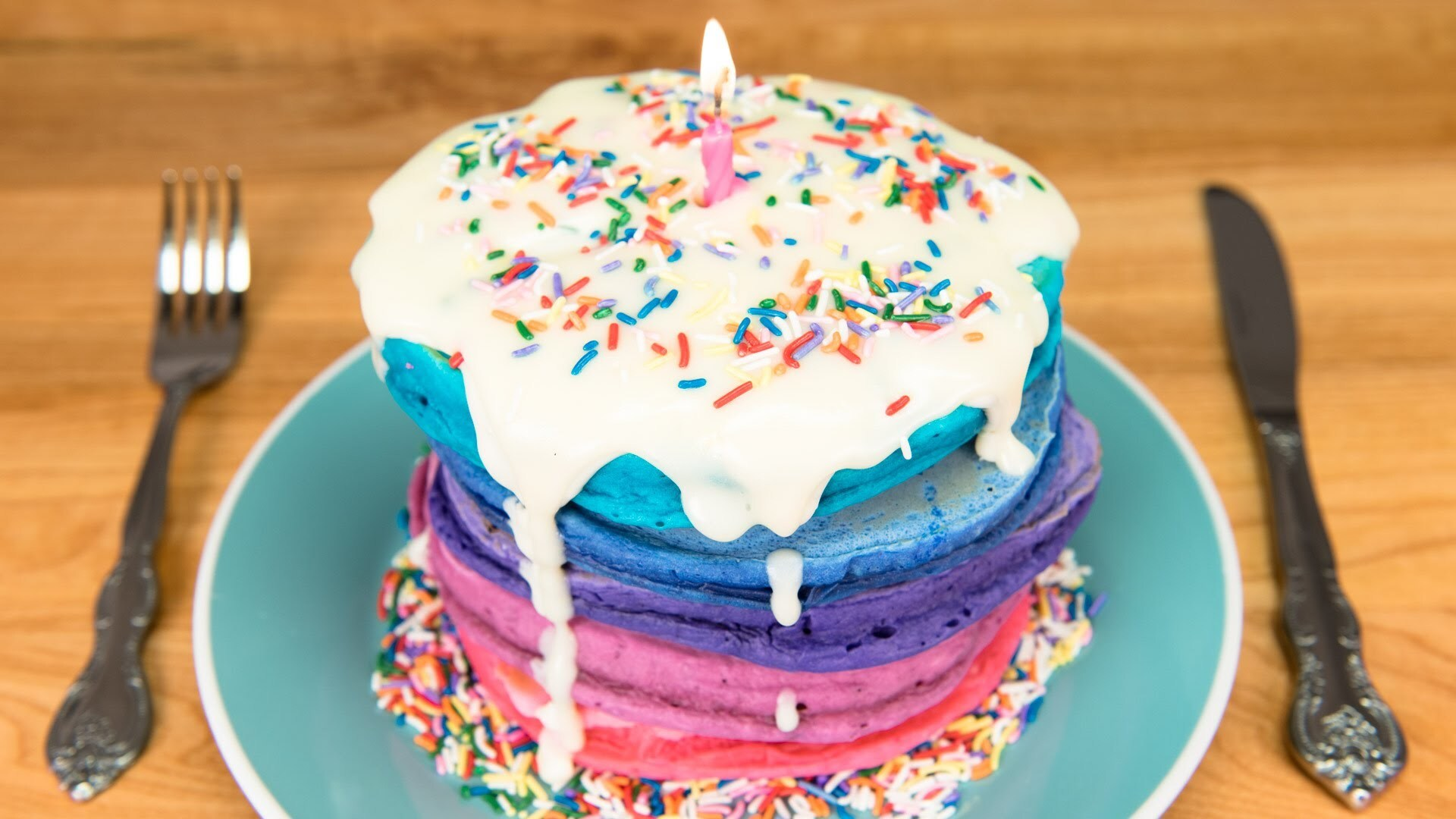 Birthday Cake Pancakes with Cream Cheese Glaze from Cookies Cupcakes and Cardio