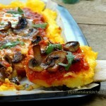 Polenta Pizza with mushrooms, gluten free and delicious