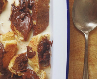 chocolate croissant bread & butter pudding