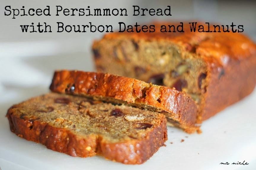 Spiced Persimmon Bread with Bourbon Dates and Walnuts & Weekly Menu Plan