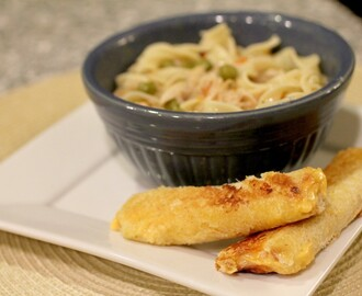 Chicken Noodle Soup and Grilled Cheese Sticks