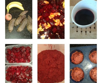 Beetroot banana and ginger muffin recipe - sugar, sweetener, egg, dairy and nut free!