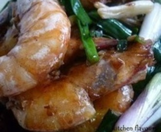 Oyster Sauce Prawns with Garden Fresh Spring Onions Recipe