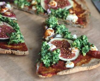 Gluten Free Pizza with Figs, Feta & Kale Pesto
